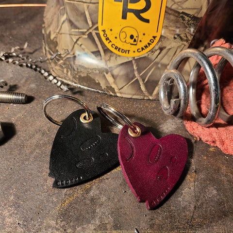 BRMCo Handmade Leather Keychains - Skull Heart