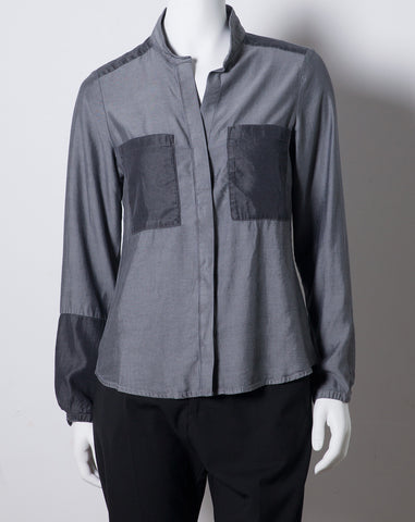 Joy Patch Blouse in Grey