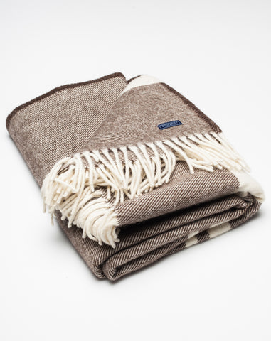 Lodge Striped Throw in Coffee and Natural
