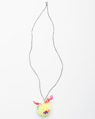 Pompom Liberty Necklace in Neon Yellow