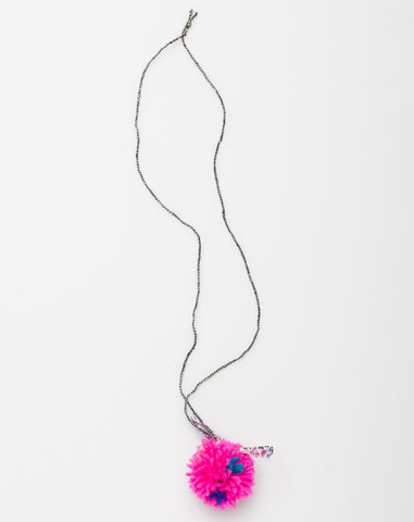 Pompom Liberty Necklace in Neon Pink