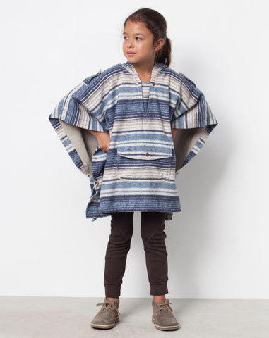 Acoma Striped Poncho in Blue