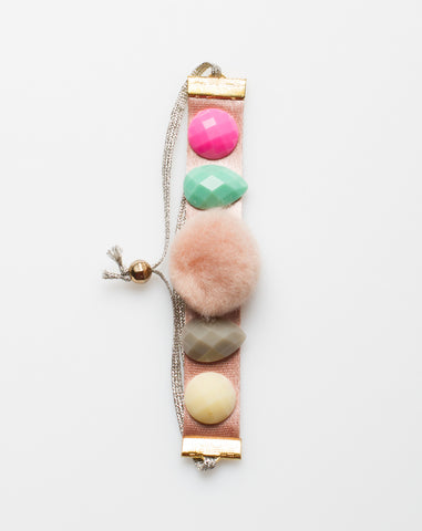 Jewel Pompom Bracelet in Pink