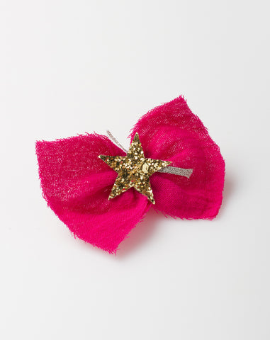 Gauze Star Hair Pin in Fuchsia