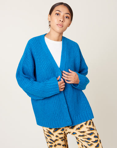 Cardigan Stitch Cardigan in Blue