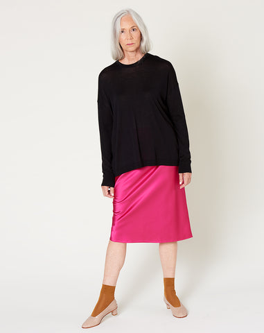 Drawstring Skirt in Hot Pink