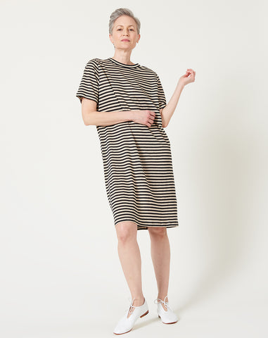 Linen Tee Dress in Black and Natural