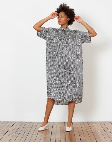 Oversized Shirt Dress in Black and White Printed Silk
