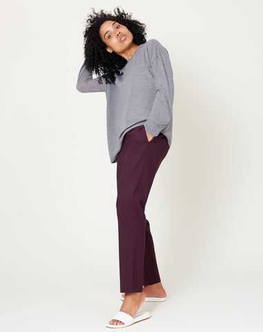 Pull On Trouser in Dark Purple