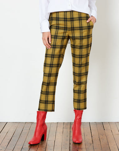 Pull On Trouser in Yellow Plaid