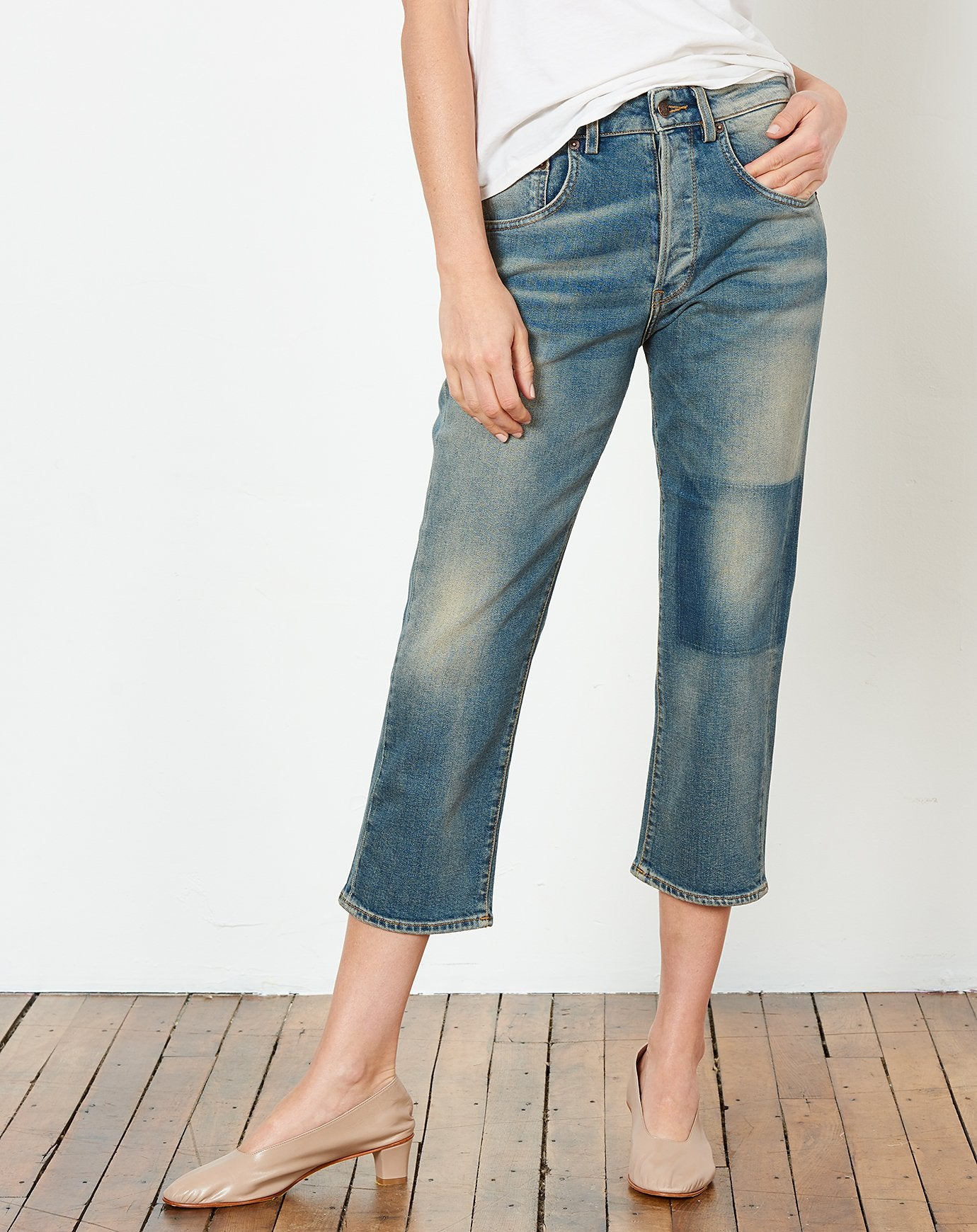 Shorty Jean in Patch Blue