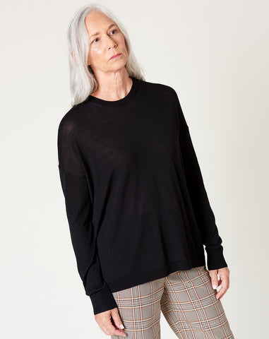 Slouchy Crew in Black