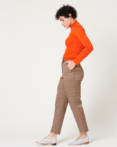 Suit Pant in Brown Plaid