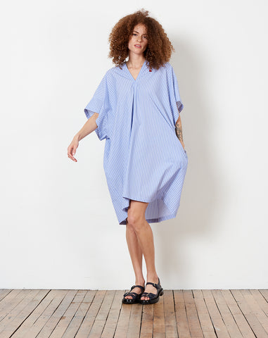 Summer Tunic in Blue Striped Shirting