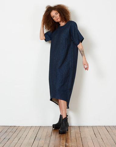 Boat Neck Midi Dress in Indigo