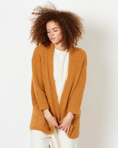 Chunky Open Cardigan in Pumpkin