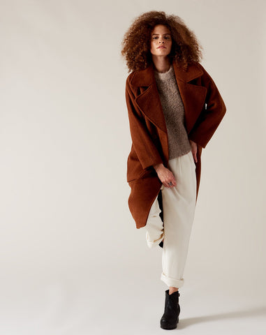 Classic Long Wool Coat in Rust