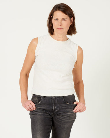 Linen Textured Tank Tee in Off-White