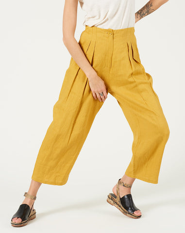 Linen Trouser in Canary