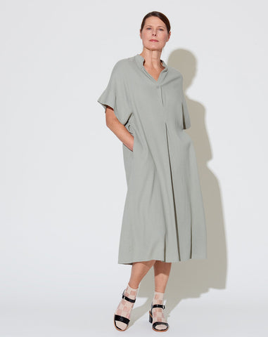 Mandarin V-Neck Dress in Teal Grey