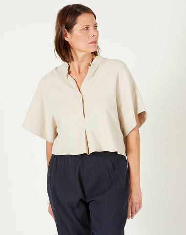 Mandarin V-Neck Top in Sand