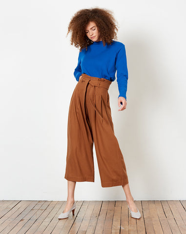 Pleated Raw Silk Trouser in Rust