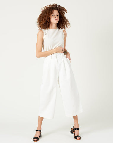 Pleated Skate Trouser in Off-White