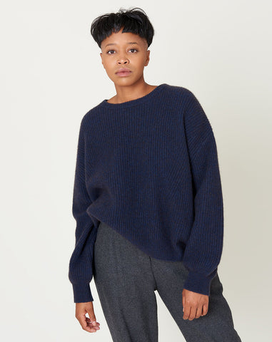 Poet Sleeve Sweater in Navy