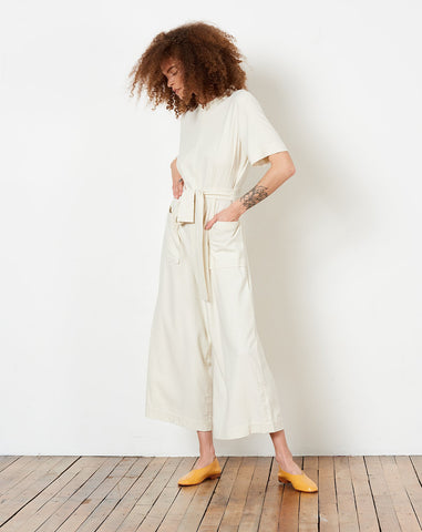 Raw Silk Mandarin Jumpsuit in Cream