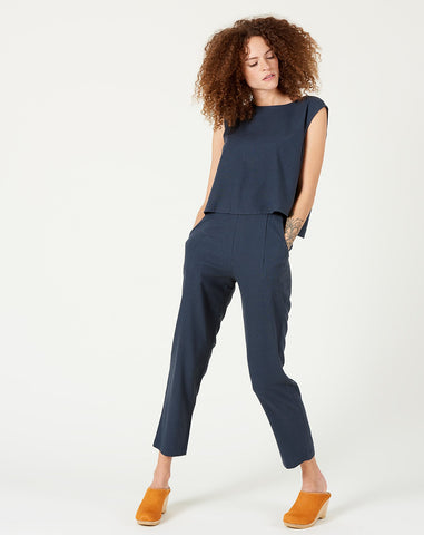 Relaxed Tapering Pant in Navy