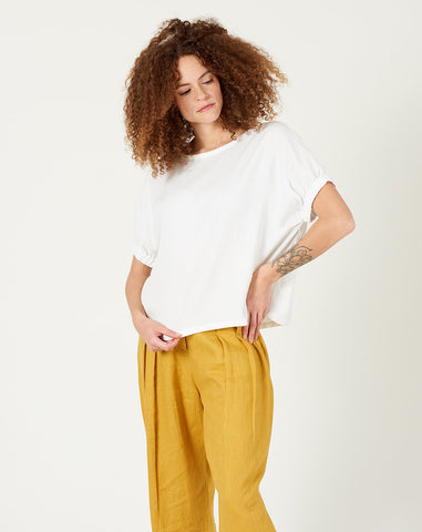 Shirred Cuff Top in Off-White