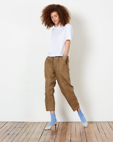 Linen Lantern Trouser in Ash Brown