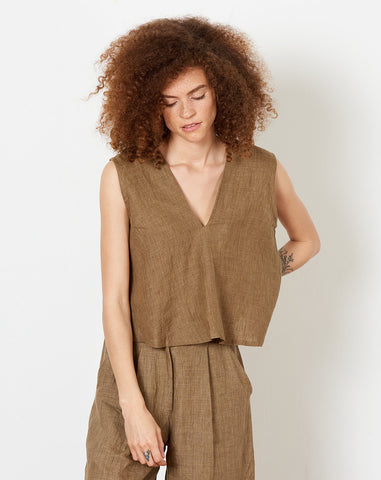 Linen Reversible Tank in Ash Brown