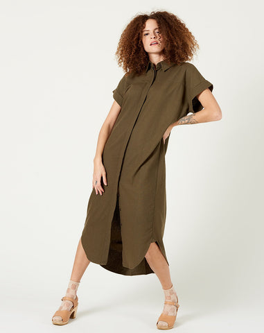 Signature Shirt Maxi in Olive