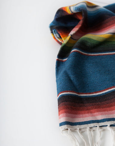 Southwestern Striped Blanket in Blue