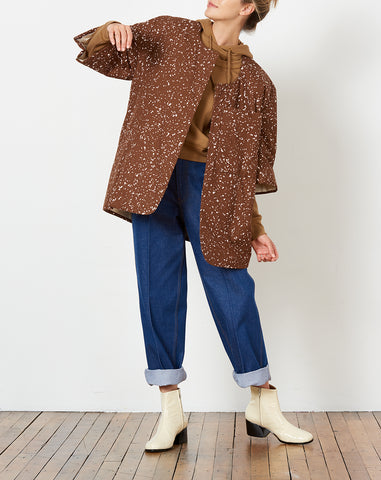 Cezar P Jacket in Haze Print Chocolate Brown