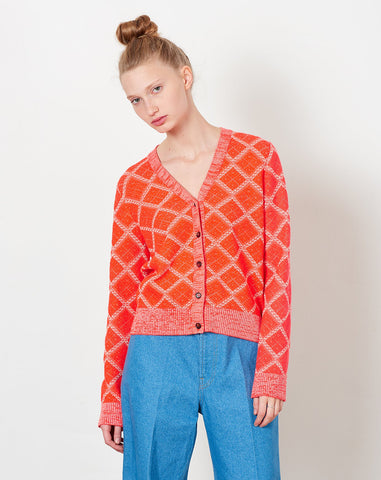 Claudeta Cardigan in Red Fluo