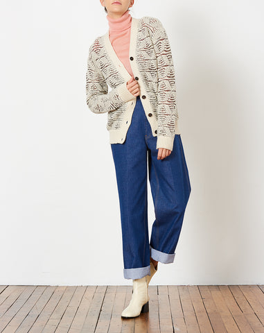 Kornelja Cardigan in Cream Wool Lace Knit