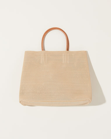 Mesh Leather Paperbag in Beige