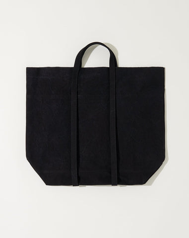 Washed Canvas 6 Pocket Tall Tote in Black