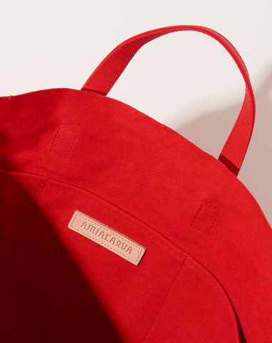 Washed Canvas 6 Pocket Tall Tote in Red