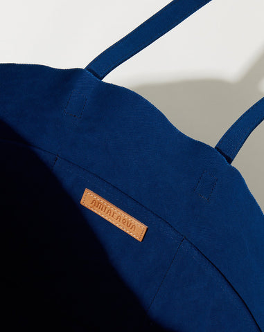 Washed Canvas 6 Pocket Tote in Blue