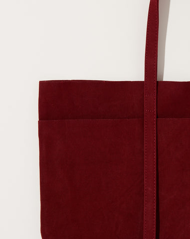 Washed Canvas 6 Pocket Tote in Burgundy