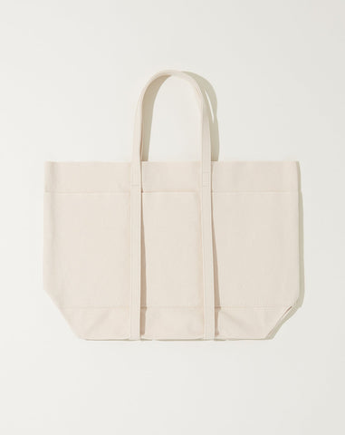 Washed Canvas 6 Pocket Tote in White