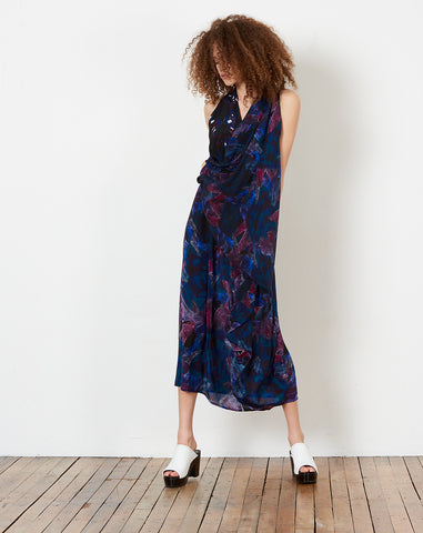 Drape Dress in Panel Print F