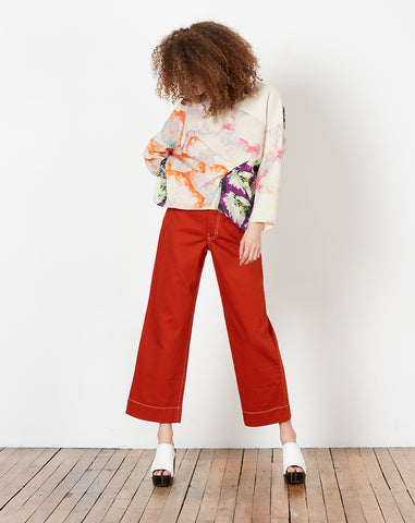 Long Sleeve Fold Top in Print Panel D