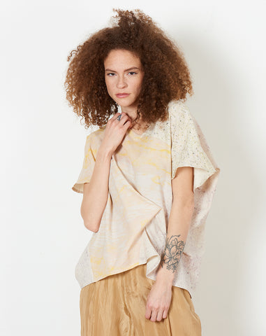 Short Sleeve Fold Top in Print Panel E