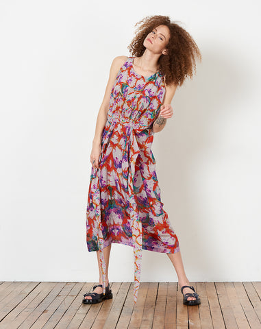 Tie Dress in Print Panel D