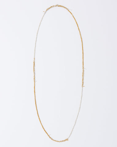 Four Tone Simple Necklace in Silver and Gold