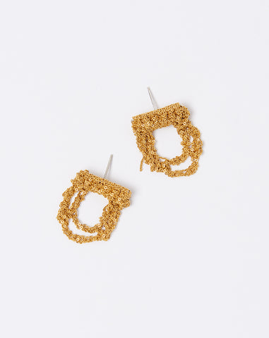 Blackwork Earrings in Gold